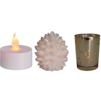 Набор декоративных свечей Feron FL112 c RGB (свечи-шишки) и янтарной (чайные свечи) LED подсветкой, по 3 шт.
