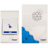 Звонок дверной беспроводной Feron Е-223  Электрический 32 мелодии белый синий с питанием от батареек