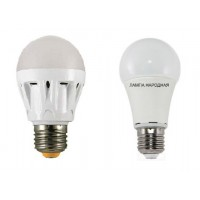 Лампа светодиодная НЛ-LED-A60-5 Вт-230 В-3000 К-Е27, (58х109 мм), Народная